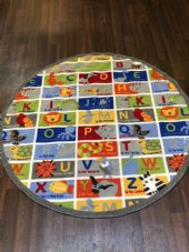 NEW ANIMAL ABC EDUCATIONAL CIRCLE 133X133CM MAT RUG SCHOOL HOME MULTICOLOUR